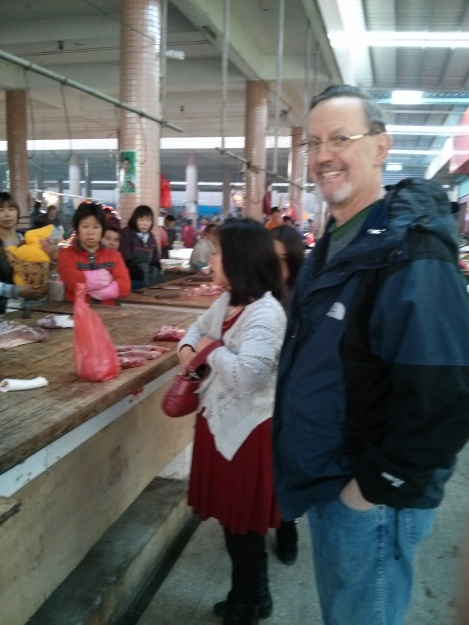 Bob on his first visit to the market; after this he went every day except Chinese New Year's Day
