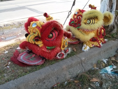 """dragon heads ready for """"dancing"""" to welcome the new year of the goat"""